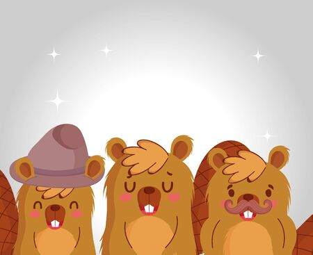 Cute beavers cartoons design, Animal zoo life nature and character theme Vector illustration Stock Illustratie