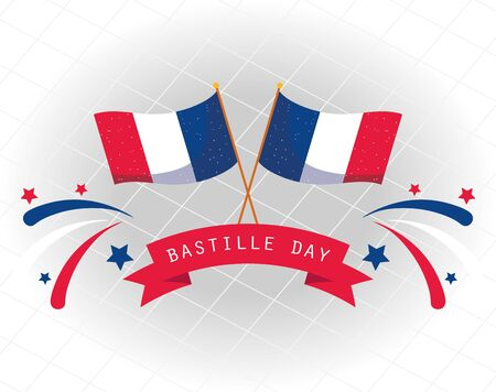 france flags with ribbon of happy bastille day vector design