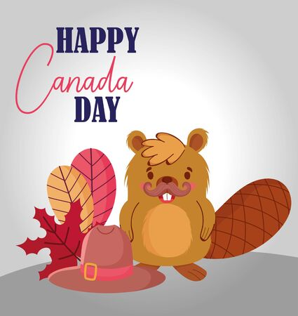 Beaver with canadian leaves and hat vector design