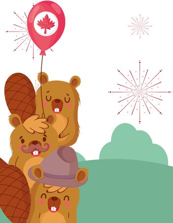 Beavers with canadian balloon design, Happy canada day holiday and national theme Vector illustration