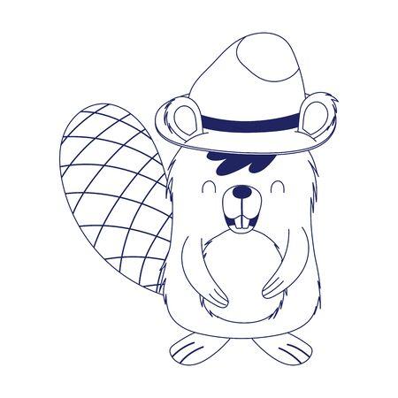 Cute beaver cartoon with hat vector design