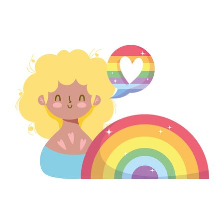 girl cartoon with lgtbi heart bubble design, Pride day orientation and identity theme Vector illustration