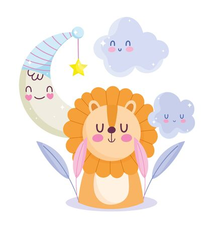 baby shower little lion moon and star celebration, welcome invitation template