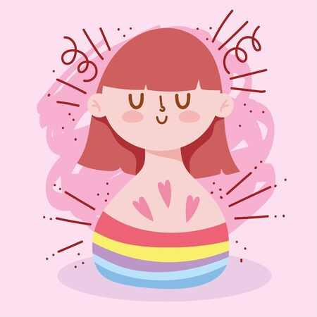 Girl cartoon with lgtbi cloth design, Happy pride day orientation and identity theme Vector illustration
