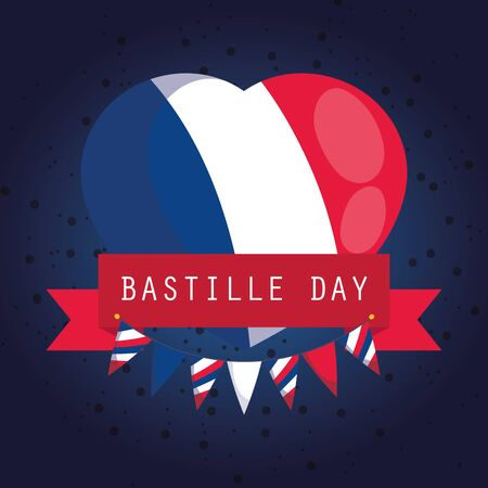 france flag heart with ribbon of happy bastille day vector design