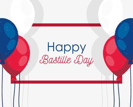 france balloons of happy bastille day vector design Illustration