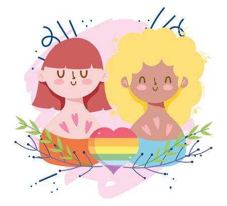 Girls cartoons with lgtbi heart and leaves vector design