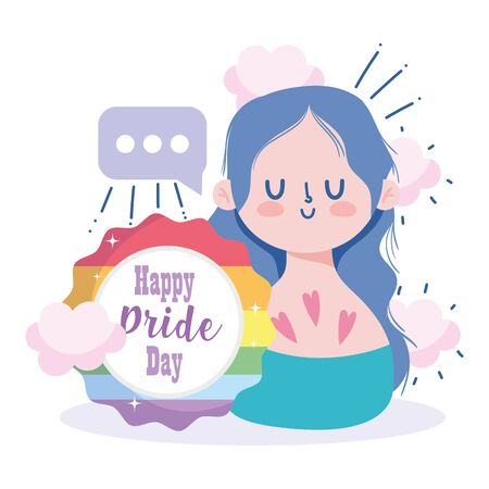 Girl cartoon with lgtbi seal stamp design, Happy pride day sexual orientation and identity theme Vector illustration