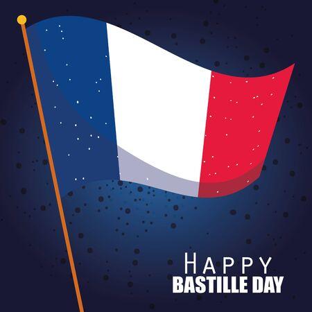 france flag of happy bastille day vector design Illustration