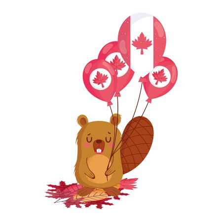 Beaver with canadian balloons vector design