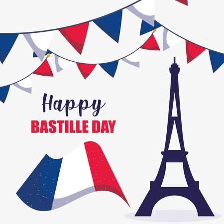 france eiffel tower and flag of happy bastille day vector design Illustration