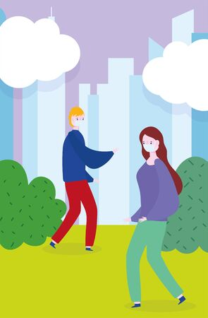 distancing social, people with mask walking in the city park, prevention coronavirus covid 19 vector illustration