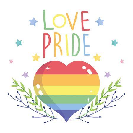 happy pride day, heart love rainbow banches stars LGBT community vector illustration