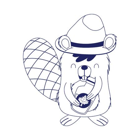 Beaver with canadian maple syrup vector design