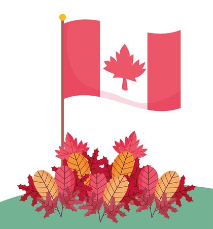 Canadian flag and autumn leaves vector design Illustration