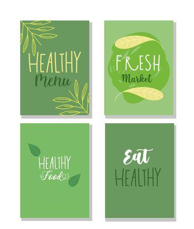 healthy food, restaurant menu brochure flyer health balance nutrition diet Illustration