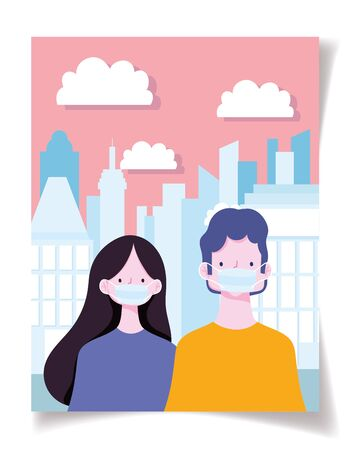 distancing social, prevention coronavirus covid 19 people with medical mask in the street Illustration