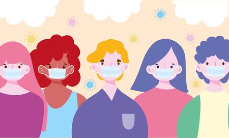 people with medical mask cartoon character, prevention covid 19 pandemic