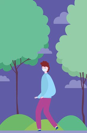 distancing social, young man with mask walking in the park, prevention coronavirus covid 19 Illustration