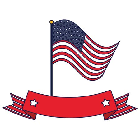 Usa flag with ribbon design, United states independence day and national theme Vector illustration Illustration