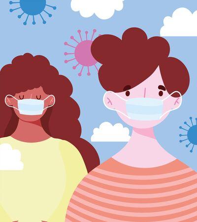 young man and woman wearing medical mask, protective coronavirus covid 19