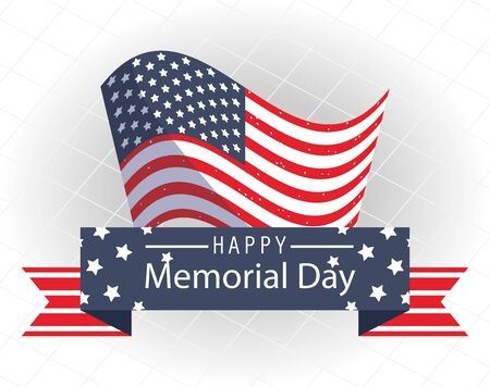 Flag with ribbon design, Happy memorial day holiday and patriotic theme Vector illustration Illustration
