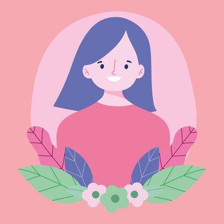 young woman cartoon character portrait flowers foliage design vector illustration 矢量图像