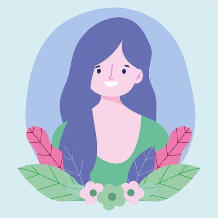 young woman cartoon character portrait flowers foliage design vector illustration Illustration