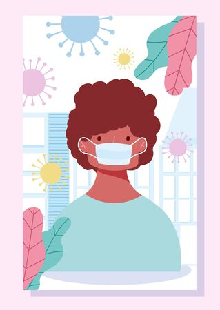 stay at home, young man with medical mask, prevention coronavirus covid 19