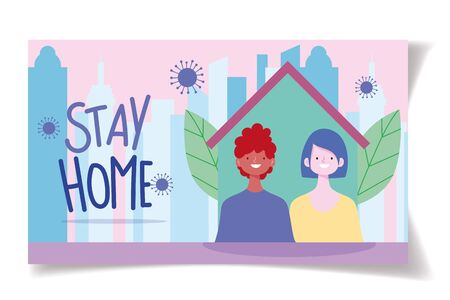 stay at home, distancing social, people with medical mask house, prevention coronavirus covid 19