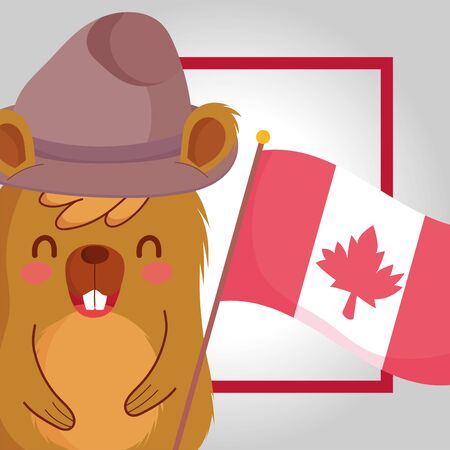 Beaver with canadian flag of happy canada day vector design