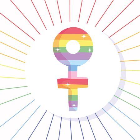 lgtbi female gender with lines vector design Illustration