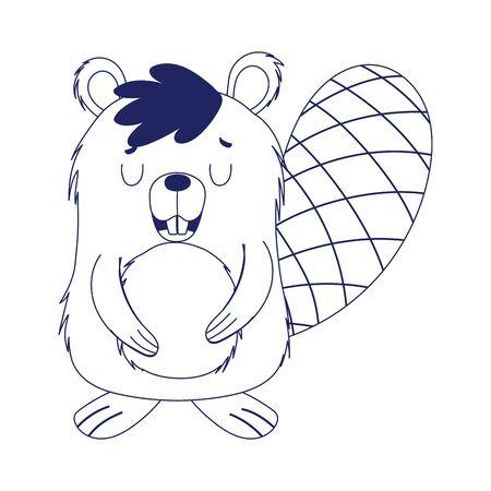 Cute beaver cartoon vector design