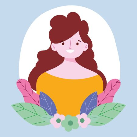 young woman cartoon character portrait flowers foliage design