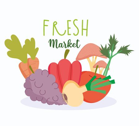healthy food, fresh market vegetables and fruit harvest balance nutrition diet Ilustracja