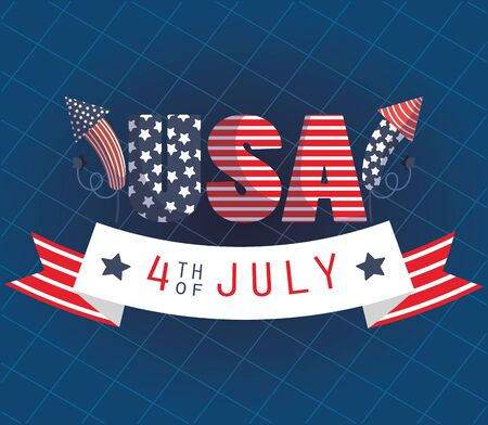 Usa text with fireworks and 4th july ribbon vector design