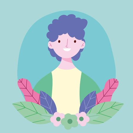 young man medical mask flowers portrait design 矢量图像