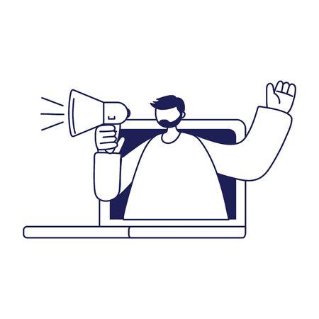 Man with megaphone inside laptop vector design