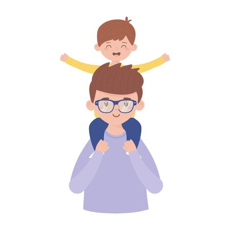 Father and son vector design