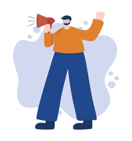 Man avatar with megaphone vector design