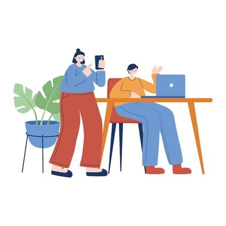 Woman and man with smartphone and laptop vector design Ilustracja