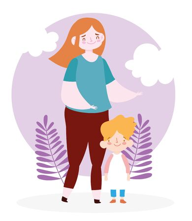 Mother with son clouds and leaves vector design Ilustracja