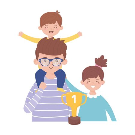 Father son and daughter with trophy on fathers day vector design Ilustracja