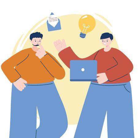Men with laptop vector design Ilustracja