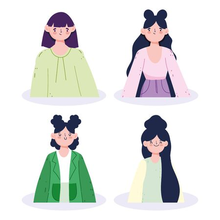 women avatars cartoons with black hair vector design