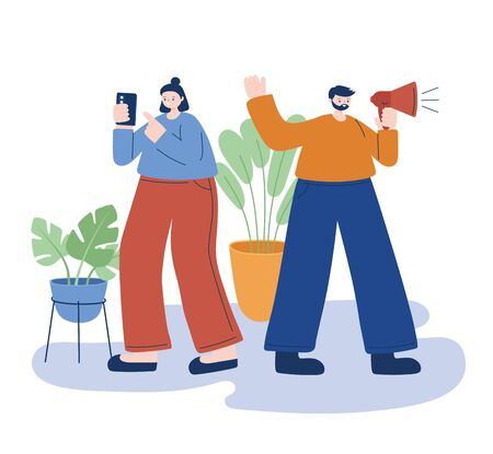 Woman and man with smartphone and megaphone vector design Ilustracja