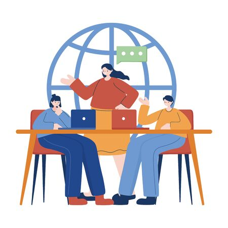 Women and man with laptop on desk vector design Ilustracja