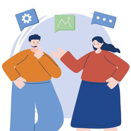 Man and woman with digital icon set vector design