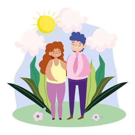 Couple of woman and man with leaves and flowers vector design