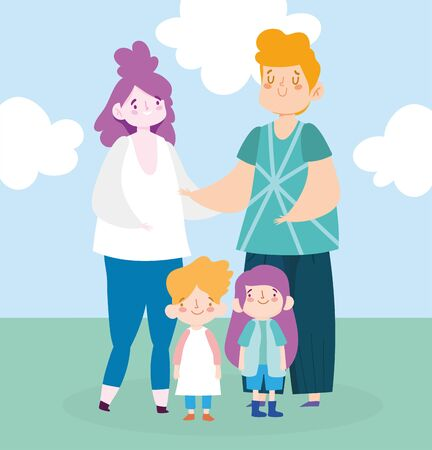 Mother father daughter and son with clouds vector design